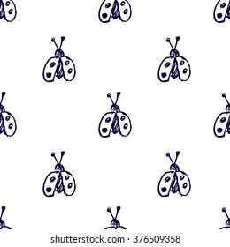 Seamless vector pattern, background with cute ladubugs on the white backdrop. Hand sketch drawing. Imitation of ink penciling. Series of Insects and Hand Drawn Patterns.