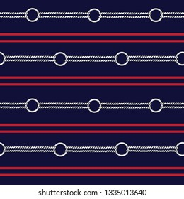 Seamless vector pattern background with hand drawn chain, and summer nautical rope in herizontal stripe design for fashion,fabric,wallpaper,web and all prints on navy blue color background