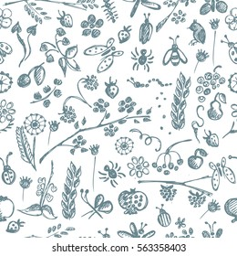 Seamless vector pattern, background with hand drawn cute insects, animals, fruits, flowers, leaves, decorative elements Hand sketch line drawing. doodle style Series of Hand Drawn seamless Patterns..