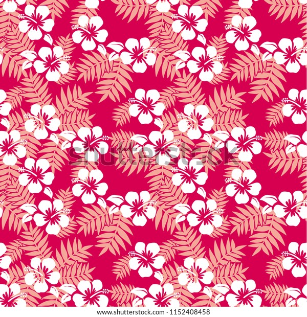 Seamless vector pattern background with palm leaves and hibiscus (tropical flower) in Hawaii and Pacific islands. For wallpapers, backgrounds, textures, textile.