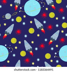seamless vector pattern background space rocket ship planets moon stars