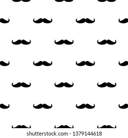 Seamless vector pattern, background or texture with black curly vintage retro gentleman mustaches on white background.