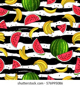 Seamless vector pattern of bananas and watermelon slices on a striped black and white. Beautiful summer background. Fruit Paradise. Summertime concept