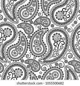 Seamless vector pattern based on traditional oriental paisley elements, Indian cucumber, Buta. Black pattern on a white background, suitable for textiles, fabrics, wallpapers, wrapping paper.