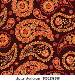 Seamless vector pattern based on traditional oriental paisley elements, Indian cucumber, buta. Background in brown tones, suitable for textiles, wallpapers, wrapping paper and other printed purposes.