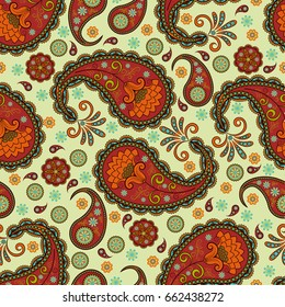 Seamless vector pattern based on traditional oriental elements paisley, Indian cucumber, buta. Background colorful, suitable for textiles, wallpaper, wrapping paper and other printing purposes.