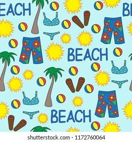seamless vector pattern beach vacation sun swimsuit board shorts beach ball red yellow blue palm tree bikini