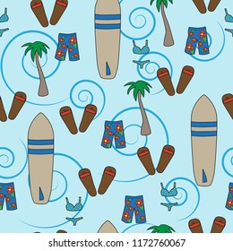 seamless vector pattern beach vacation surf board palm tree swim trunks bikini blue tropical background
