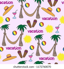 seamless vector pattern beach vacation words hammock palm trees flip flops sun pink beach ball cocktail