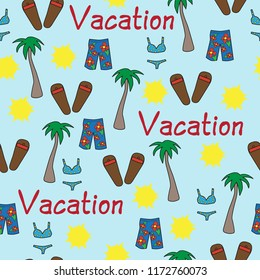 seamless vector pattern beach vacation words palm trees sun swimsuit bikini blue yellow red tropical