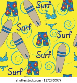 seamless vector pattern beach vacation surfboard swim trunks bikini swirls yellow blue