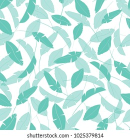 Seamless vector pattern with beautiful layered tropical leaves in green with a white background.