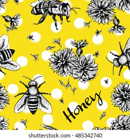 Seamless vector pattern with bees and flowers. Hand drawn vintage graphic doodle design. Sketch with animal. Pattern for print on fabric. Vector illustration. Endless background.