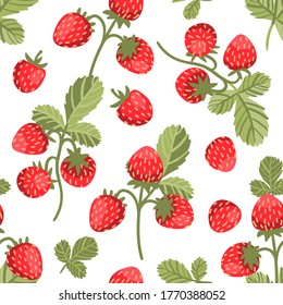 Seamless vector pattern with big tasty wild strawberries on white background. Trendy summertime print with berries in hand drawn style. Delicious and yummy summer food illustration