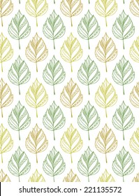 Seamless vector pattern with birch leaves.