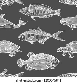 Seamless vector pattern with Black fish on white background. Vintage engraving art. Hand drawing sketch. Kitchen design with seafood for paper, wrapping, fabrics.