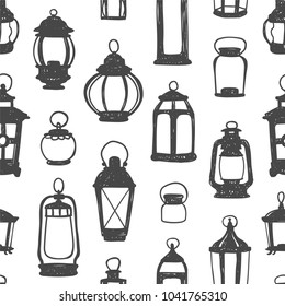 Seamless vector pattern - black on white retro lanterns