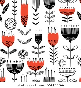 Seamless vector pattern with black and red flowers