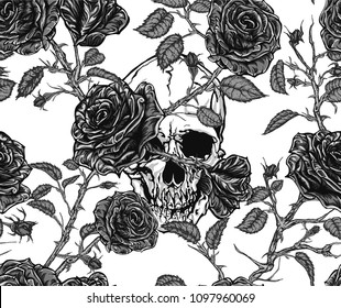 Seamless vector pattern of black and white skull and roses with stems, leaves, buds and thorns  tangled on white background.