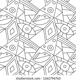 Seamless vector pattern, black and white lined asymmetric geometric background with rhombus, triangles. Print for decor, wallpaper, packaging, wrapping, fabric. Triangular abstrac design. Line drawing