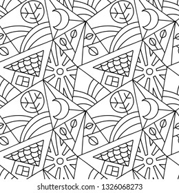 Seamless vector pattern, black and white asymmetric geometric background with house, tree, sun, rhombus. Print for decor, wallpaper, packaging, wrapping, fabric. Abstract graphic design. Line drawing