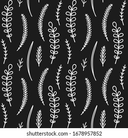 Seamless vector pattern. Black and white background with leaves and herbs. Nature backdrop design for prints, wallpaper, paper wrap, textile, other decor.