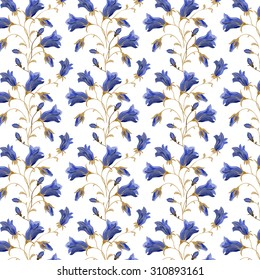 Seamless vector pattern with blue bell flower.White background.