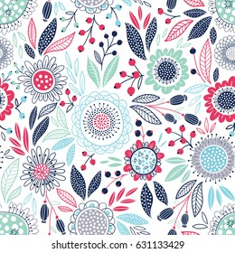 Seamless vector pattern with blue leaves and flowers