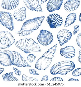 Seamless vector pattern with blue sea shells. Hand drawn vintage sketch elements of engraving. Nautical background. Can use for pack, paper, wallpaper.