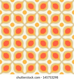 Seamless vector pattern with bold geometric shapes in 1970s style. Texture background for web, print, home decor, summer fall fashion textile, wrapping paper, wallpaper, website background, decals