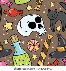 Seamless vector pattern with bottle, candy, witch hat,cat, potion, skull on brown background. Wallpaper, fabric and textile ideas. Wrapping paper pattern. Cute design. Halloween set.