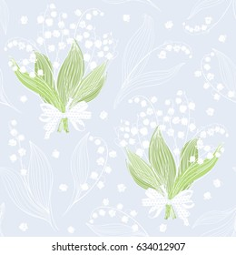 Seamless vector pattern with bouquets of lilies of the valley.
