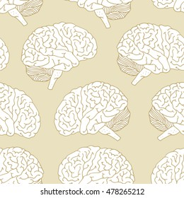 Seamless vector pattern with brain, hand drawn illustration on beige background