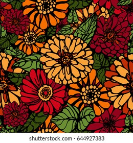 Seamless vector pattern of bright colored flowers. Zinnia flowers.