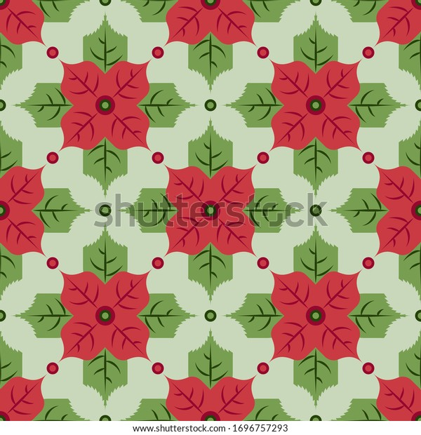 Seamless vector pattern. Bright red flowers of poinsettia and green spiky leaves. Perfect for christmas and new year wrapping paper. Seasonal design in simple geometric style. December illustration.
