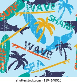 Seamless vector pattern with bright surfboards and shark and palm  on the blue background. For textile, fabric, clothes, web, wrapping paper.