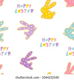 Seamless vector pattern of bunny cookies. Easter design