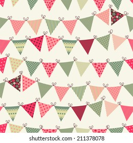 Seamless vector pattern with bunting
