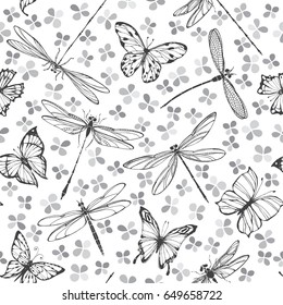Seamless vector pattern with butterflies and dragonflies on a floral background. Monochrome vector illustration.