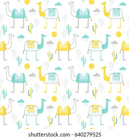 Seamless vector pattern with camel. For birthday, party invitations, scrapbook, summer holidays. Vector illustration in turquoise and yellow colors.
