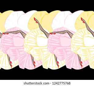Seamless Vector Pattern of Cancan Dancer's Legs with Skirts, Shoes and Stockings. Burlesque Sexy Girls. Vector Background. Freehand Drawing. Free Hand Illustration. Cartoon Style Graphics.