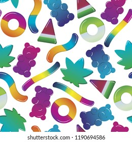 Seamless Vector Pattern Cannabis Candy Gummy Bear and Worm