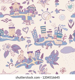 Seamless vector pattern with cartoon island town. Hand drawn ornaments. Decorative sketch of cartoon city.