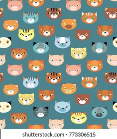 Seamless vector pattern with cats and tiger on grey background