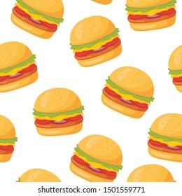 Seamless vector pattern with cheese burger on white background