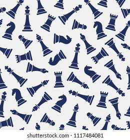 Seamless vector pattern with chess on grey