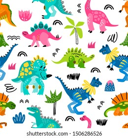 Seamless vector pattern with childish cute hand drawn dinosaurs