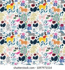 seamless vector pattern with children's fairytale forest, where unicorns run, wallpaper for children