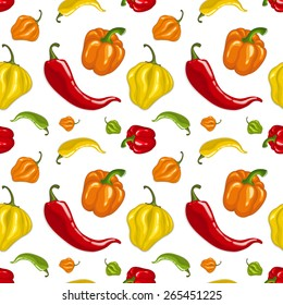 Seamless vector pattern with chili peppers - jalapeno, paprika, cayenne