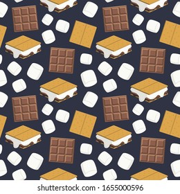 Seamless vector pattern with s'mores, chocolate bars, graham crackers, and marshmallows scattered on a navy blue background. Fun food illustration for gift wrap, fabric, packaging, accessories.
